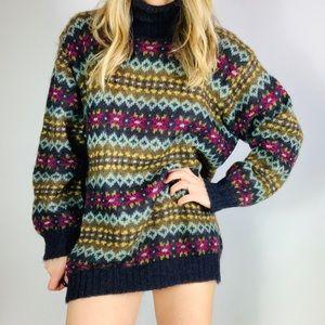 Vintage Benetton mohair wool turtleneck sweater L